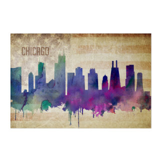Chicago, IL | Watercolor City Skyline Acrylic Wall Art