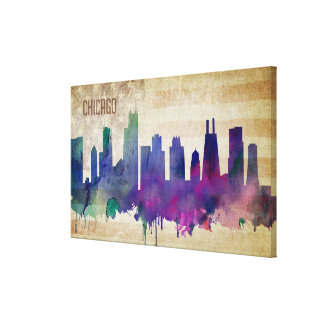 Chicago, IL | Watercolor City Skyline Canvas Print