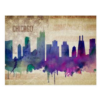 Chicago, IL | Watercolor City Skyline Postcard