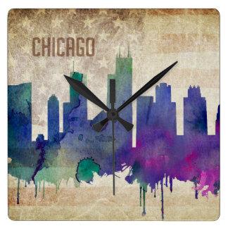 Chicago, IL | Watercolor City Skyline Square Wall Clock
