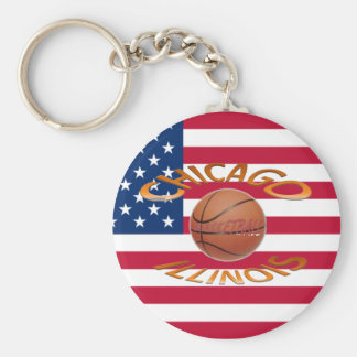 Chicago ILLINOIS Basketball Key Ring