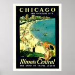 Chicago Illinois Beach Vintage Travel Poster