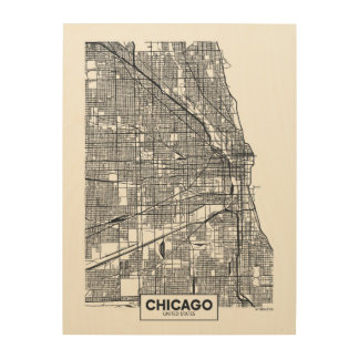 Chicago, Illinois | Black and White City Map Wood Print