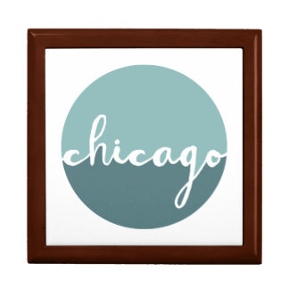 Chicago, Illinois   Blue Ombre Circle Large Square Gift Box