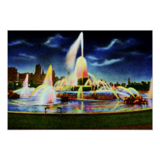 Chicago Illinois Buckingham Fountain at Night Poster