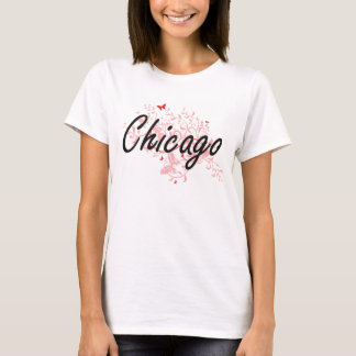 Chicago Illinois City Artistic design with butterf T-Shirt