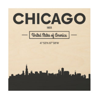 Chicago, Illinois | City Coordinates Wood Wall Art