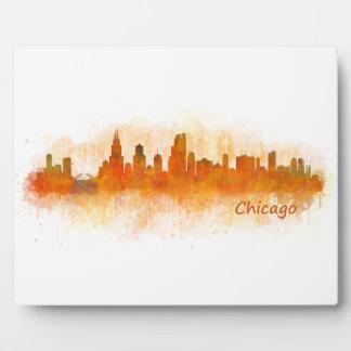 Chicago Illinois City Skyline v03 Photo Plaques