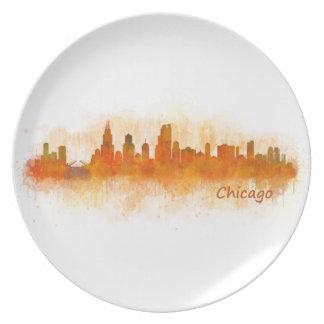 Chicago Illinois City Skyline v03 Plate