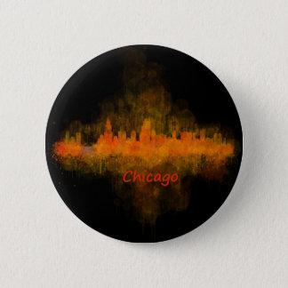 Chicago Illinois Cityscape Skyline Dark 6 Cm Round Badge