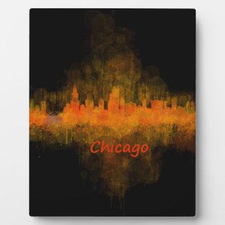 Chicago Illinois Cityscape Skyline Dark Display Plaques
