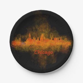 Chicago Illinois Cityscape Skyline Dark Paper Plate