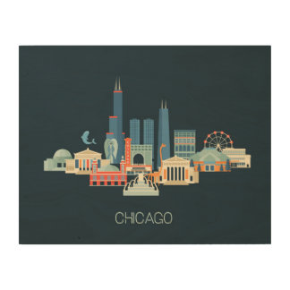 Chicago, Illinois | Design in Blue Wood Wall Decor