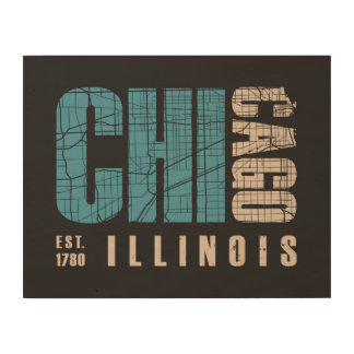 Chicago, Illinois | Graphic Map Wood Wall Art