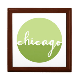 Chicago, Illinois | Green Ombre Circle Large Square Gift Box