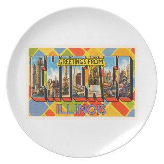Chicago Illinois IL Old Vintage Travel Souvenir Party Plate