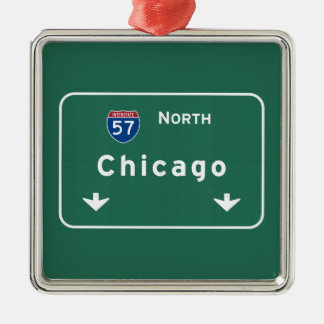 Chicago Illinois Interstate Highway Freeway Road : Metal Ornament