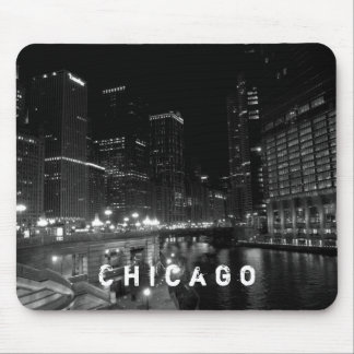 Chicago Illinois Night View Black & White Mouse Pad