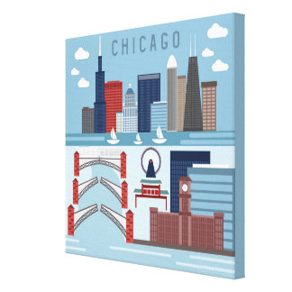 Chicago Illinois Poster Canvas Print