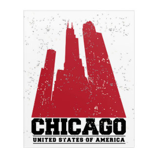 Chicago, Illinois | Red City Skyline Acrylic Print