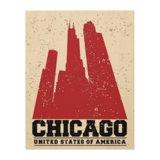 Chicago, Illinois | Red City Skyline Wood Wall Art
