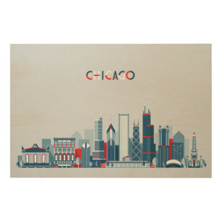 Chicago, Illinois | Red, White and Blue Skyline Wood Wall Decor