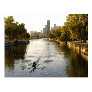 Chicago, Illinois, Rowers in Lincoln Park lagoon Postcard