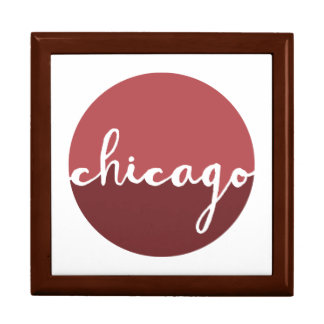 Chicago, Illinois | Rust Ombre Circle Large Square Gift Box