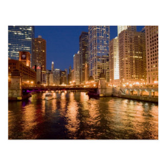 Chicago, Illinois, Skyline and Chicago River at 2 Postcard