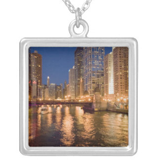 Chicago, Illinois, Skyline and Chicago River at 2 Square Pendant Necklace