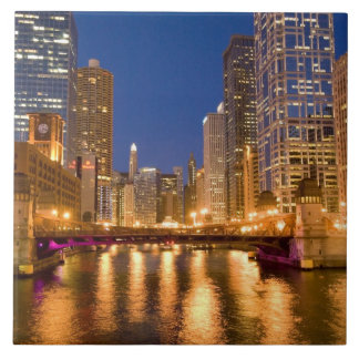 Chicago, Illinois, Skyline and Chicago River at Large Square Tile