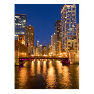 Chicago, Illinois, Skyline and Chicago River at Postcard