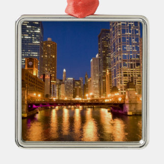 Chicago, Illinois, Skyline and Chicago River at Silver-Colored Square Decoration