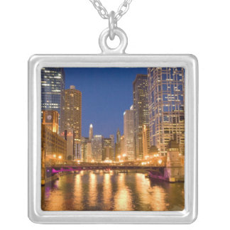 Chicago, Illinois, Skyline and Chicago River at Square Pendant Necklace