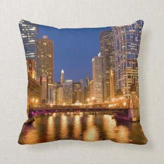 Chicago, Illinois, Skyline and Chicago River Throw Cushions