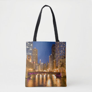 Chicago, Illinois, Skyline and Chicago River Tote Bag