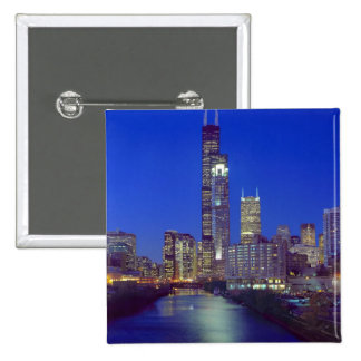 Chicago Illinois Skyline at night with Chicago Buttons