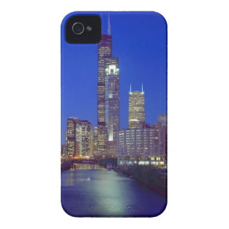 Chicago, Illinois, Skyline at night with Chicago iPhone 4 Covers