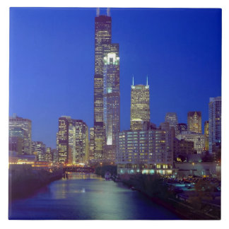 Chicago, Illinois, Skyline at night with Chicago Large Square Tile