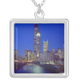 Chicago, Illinois, Skyline at night with Chicago Square Pendant Necklace