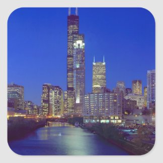 Chicago, Illinois, Skyline at night with Chicago Square Sticker