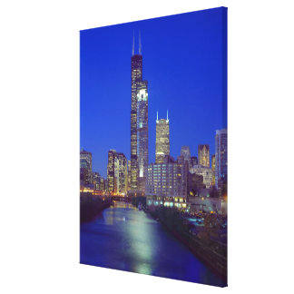 Chicago, Illinois, Skyline at night with Chicago Stretched Canvas Print