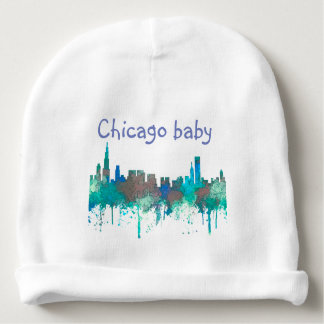 Chicago Illinois Skyline-SG-Jungle Baby Beanie