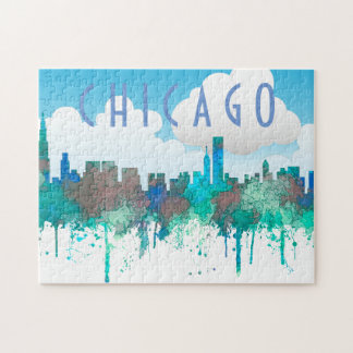 Chicago Illinois Skyline-SG-Jungle Jigsaw Puzzle