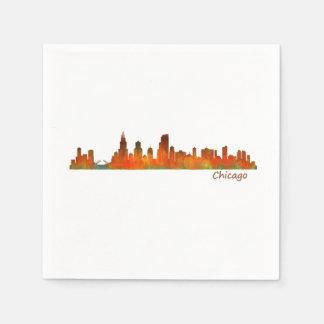 Chicago Illinois U.S. City skyline v01 Disposable Serviettes