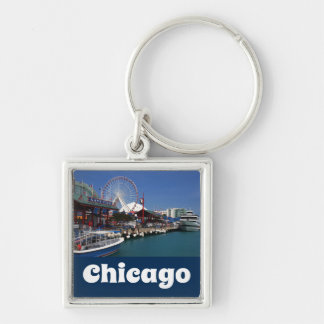Chicago Illinois USA - Chicago Skyline Navy Pier Key Ring