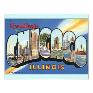 Chicago Illinois Vintage Postcard 11 Cm X 14 Cm Invitation Card