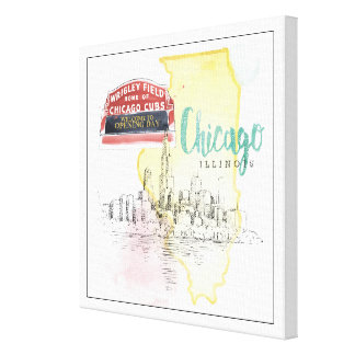 Chicago, Illinois | Watercolor Sketch Image Canvas Print