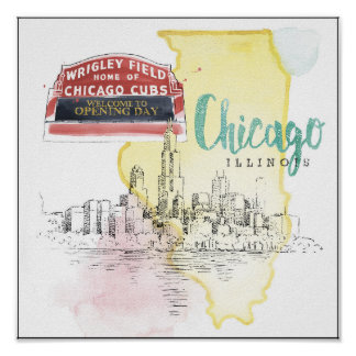 Chicago, Illinois | Watercolor Sketch Image Poster