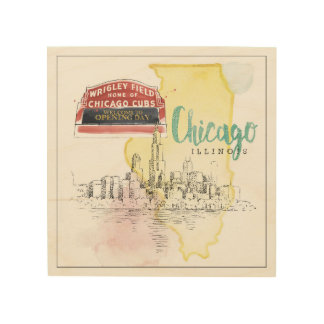 Chicago, Illinois | Watercolor Sketch Image Wood Wall Art